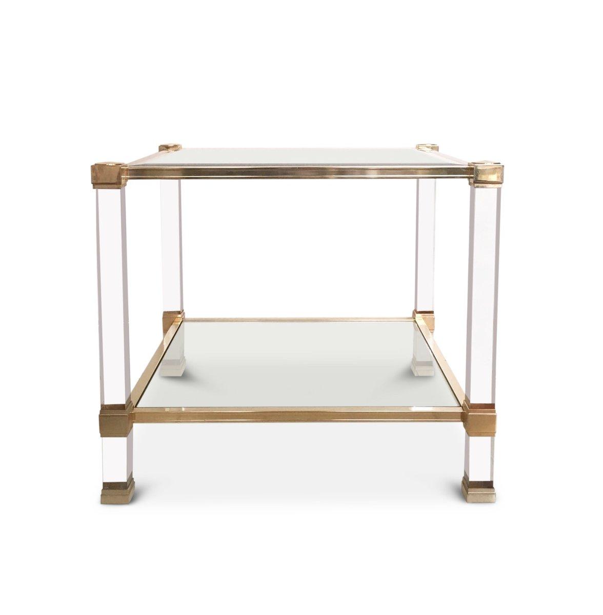 Quadratischer Plexiglas und Glas Couchtisch von Pierre Vandel, 1970er