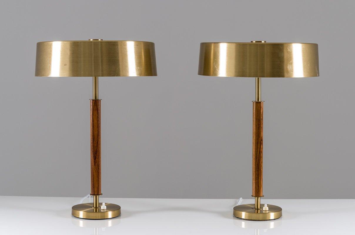 Lampade da tavolo mid century in ottone e legno di bor ns svezia set di 2 in vendita su pamono - Lampade da tavolo in legno ...