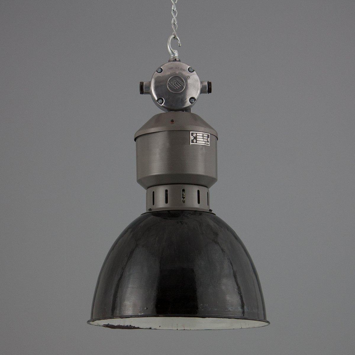 Industrielle Emaille & Stahl Hängelampe, 1950er
