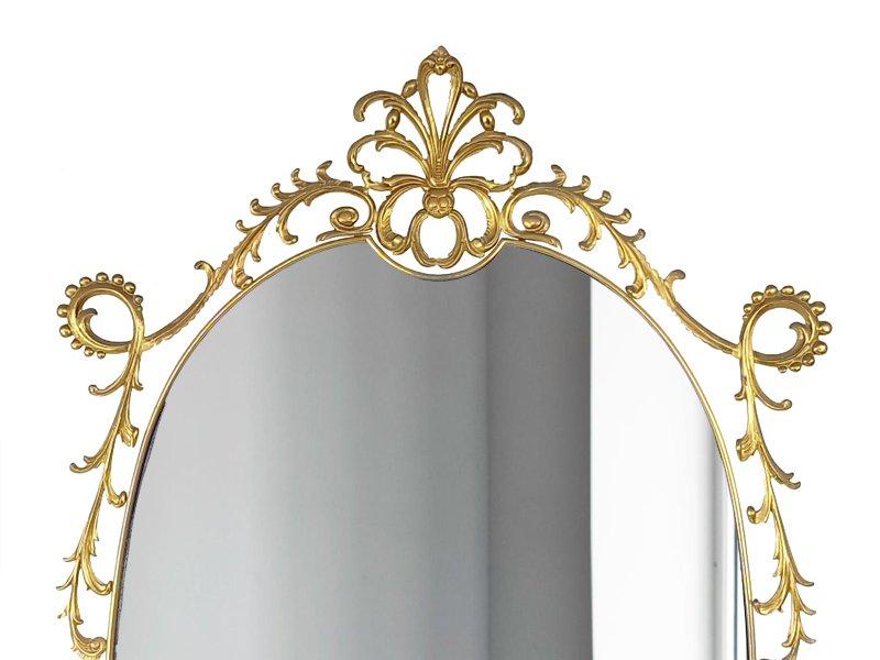 Specchio da parete grande in stile barocco in ottone anni 39 60 in vendita su pamono - Specchio parete grande ...