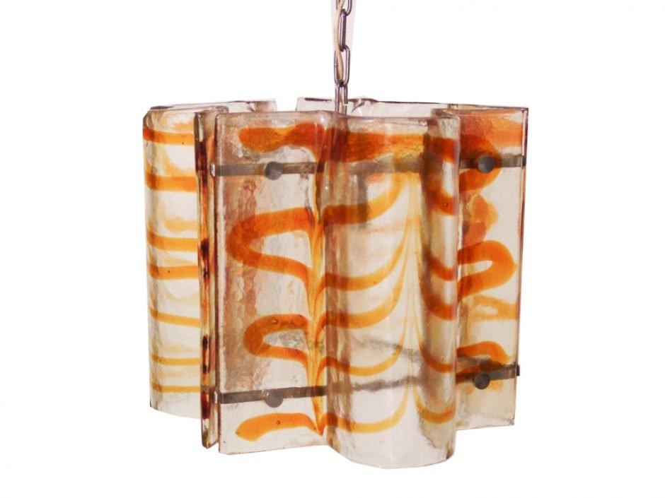 Mid-Century Glas Hängelampe