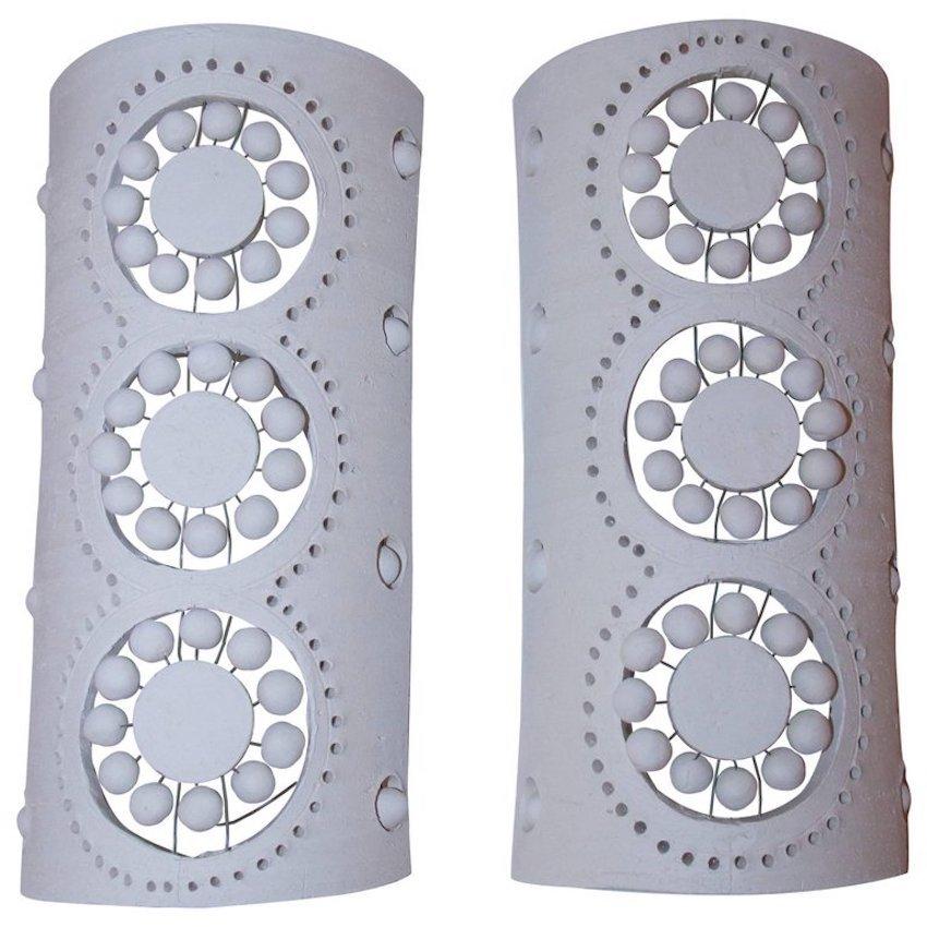 Wandleuchten aus unglasierter Keramik von Georges Pelletier, 1970er, 2...