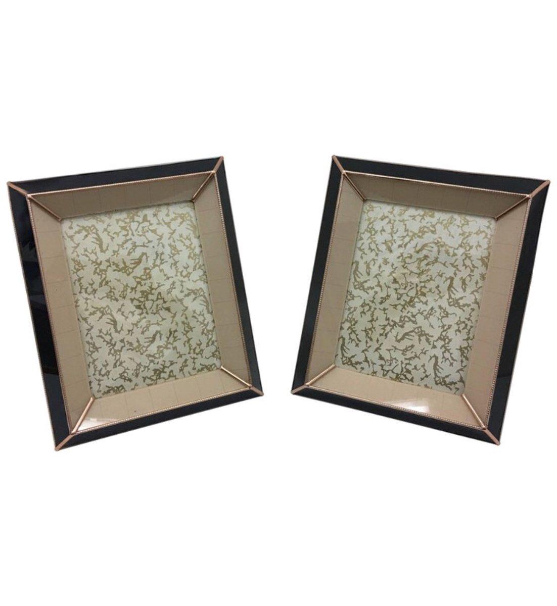 italienische art deco glas bilderrahmen 1930er 2er set bei pamono kaufen. Black Bedroom Furniture Sets. Home Design Ideas