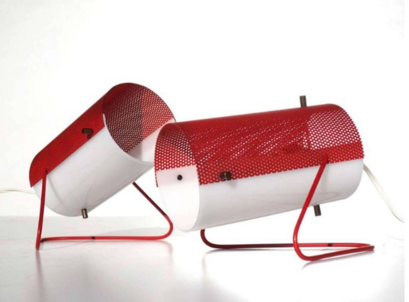 Lampes de bureau blanc rouge de stilux s set de en vente