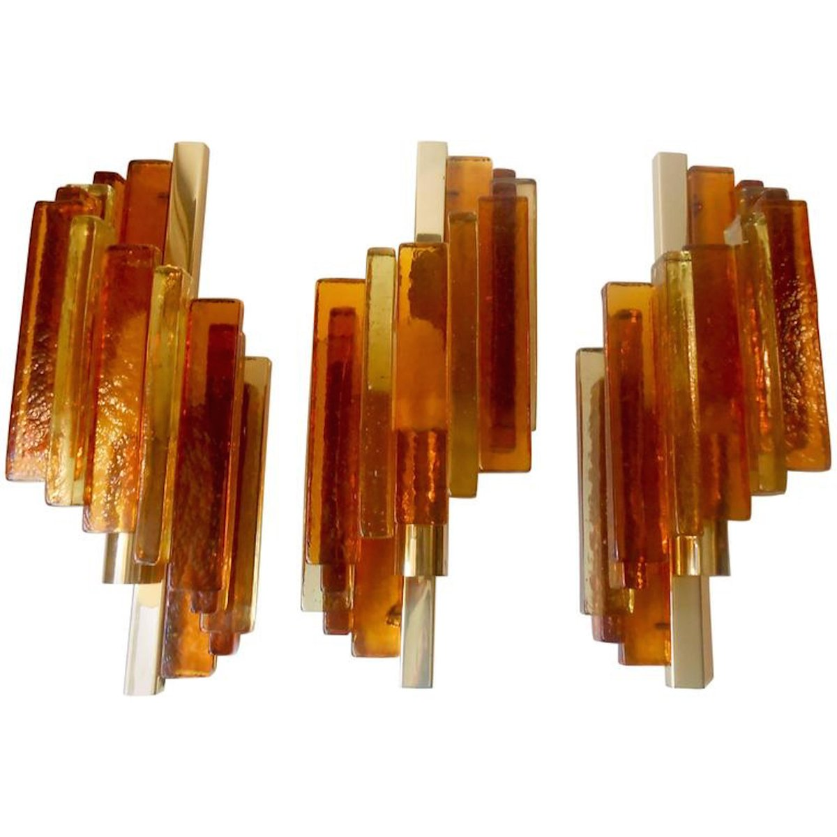 Rustikale geschichtete Glas & Messing Wandleuchten von Svend Aage Holm...