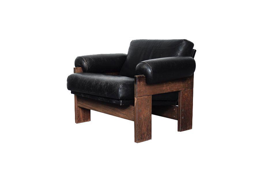 Modell SZ73 Sessel aus schwarzem Leder & Wenge von Martin Visser für '...