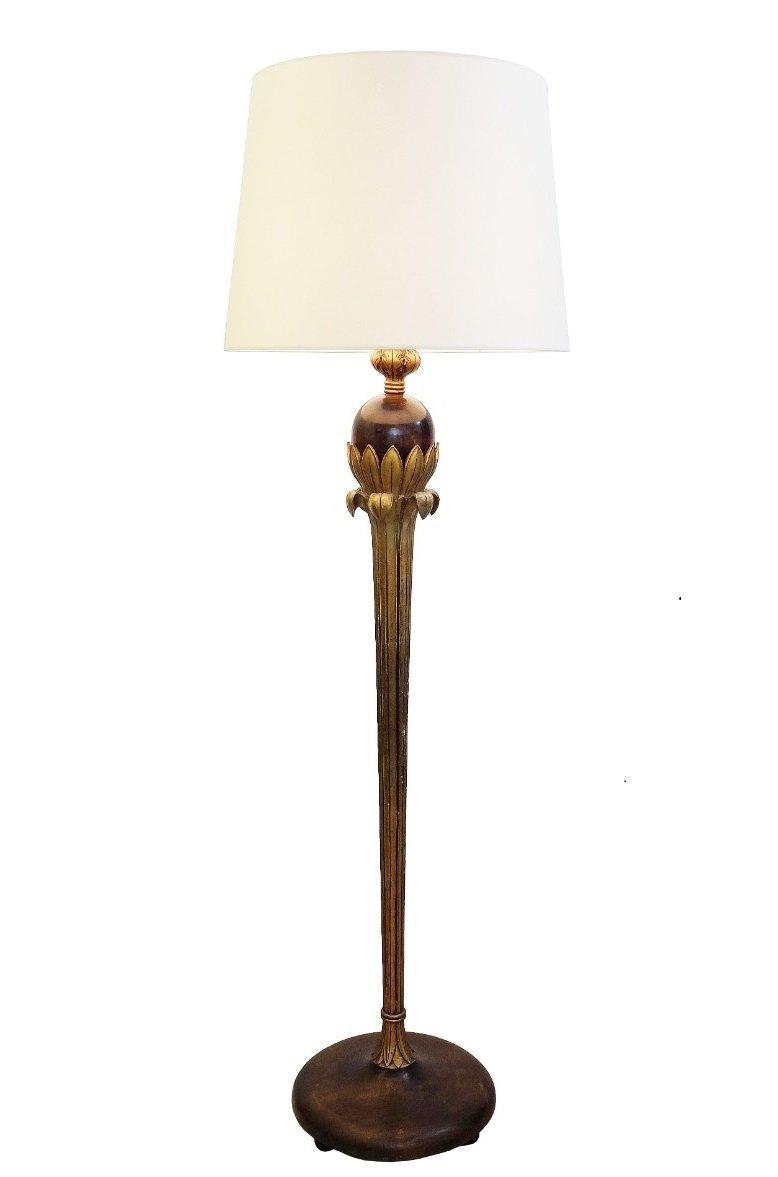 Vintage Stehlampe aus vergoldetem Holz von Alfred Chambon