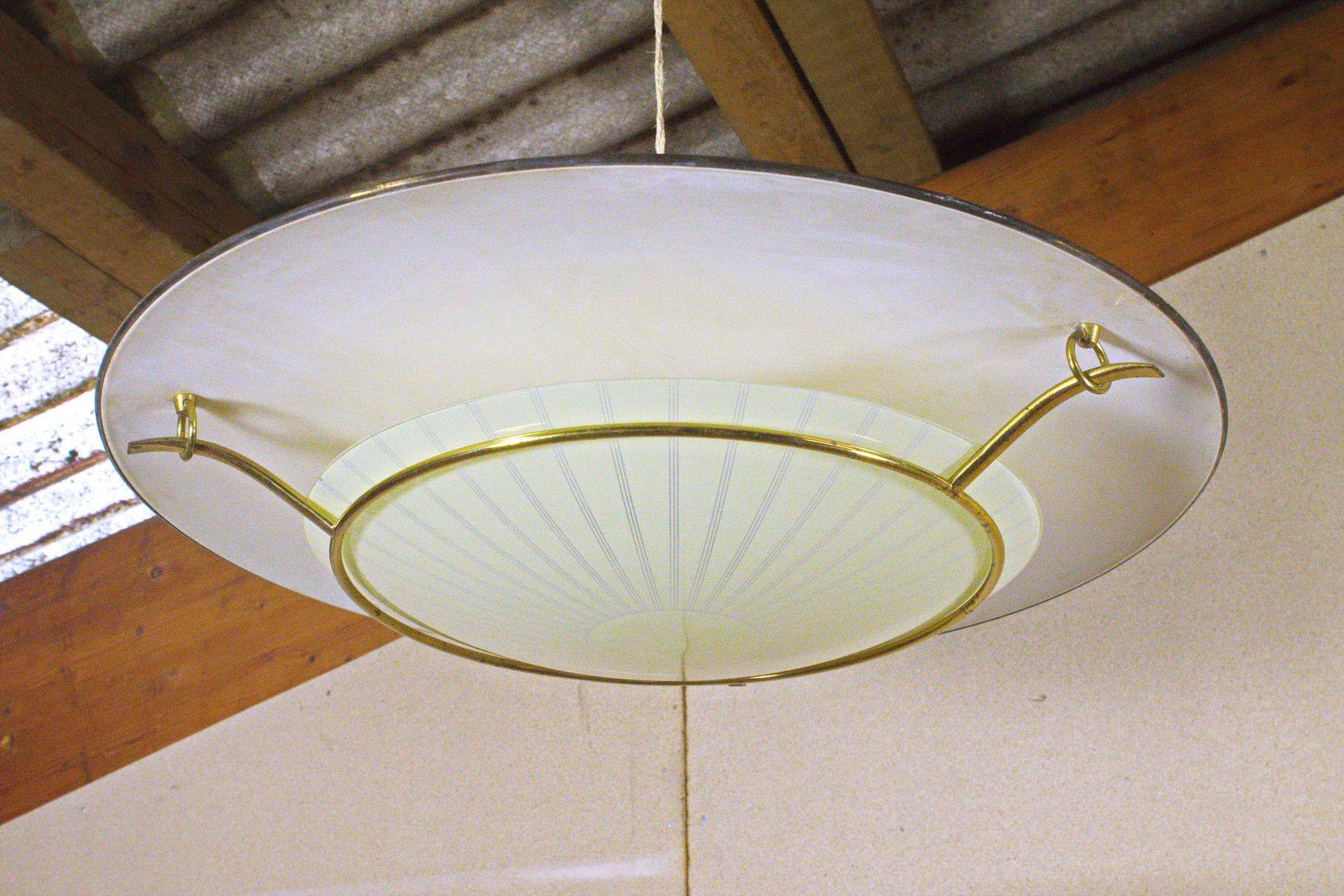 Große Deutsche UFO Deckenlampe mit Messing & Glas, 1950er