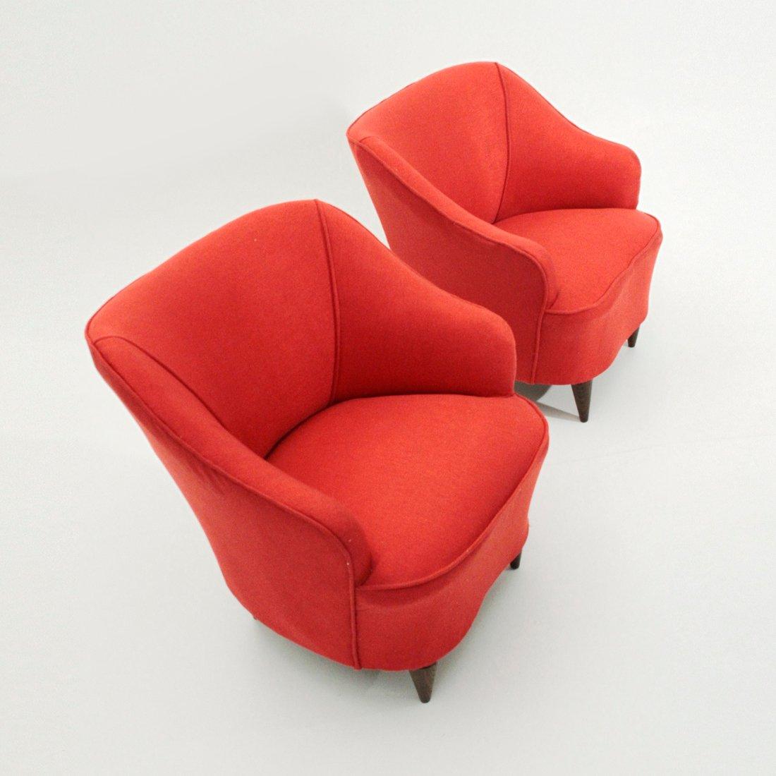 Poltrone rosse italia anni 39 40 set di 2 in vendita su for Poltrone anni 40