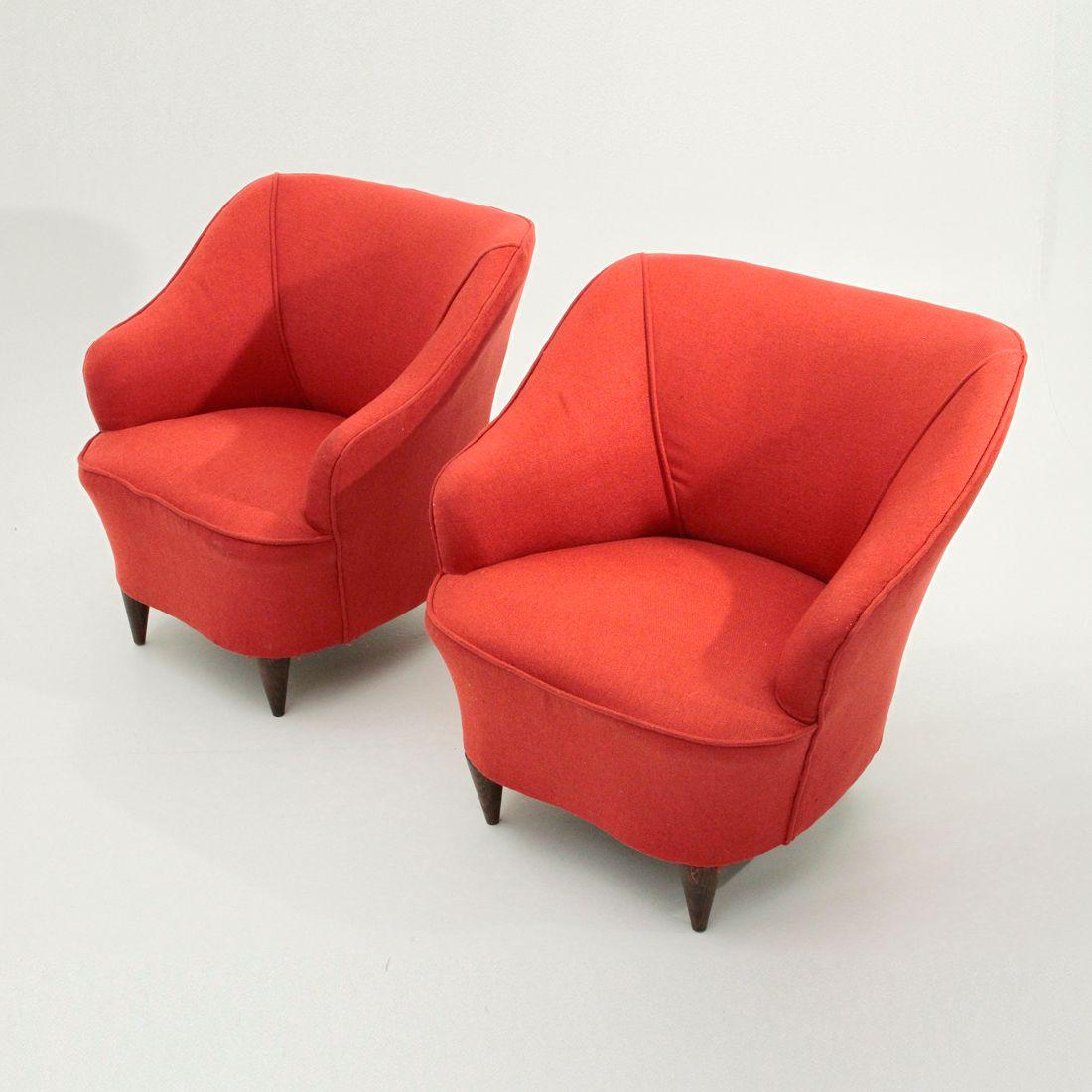 Rote italienische sessel 1940er 2er set bei pamono kaufen for Sessel italienisches design