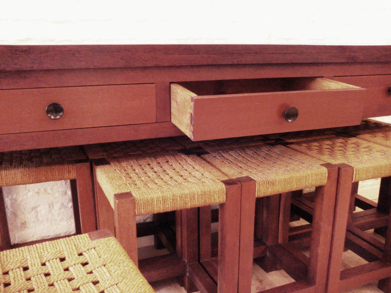 klapptisch oder konsolentisch 10 ipe hocker aus holz 1950er bei pamono kaufen. Black Bedroom Furniture Sets. Home Design Ideas