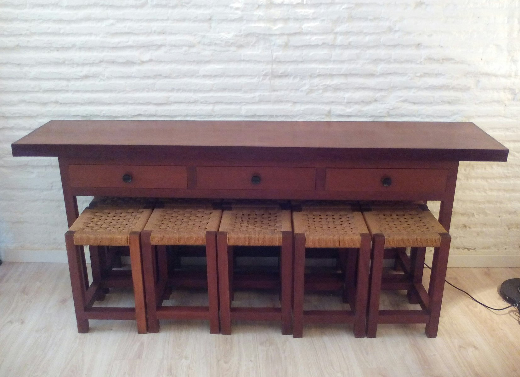 Folding Table Or Console U0026 10 IPE Wooden Stools, 1950s