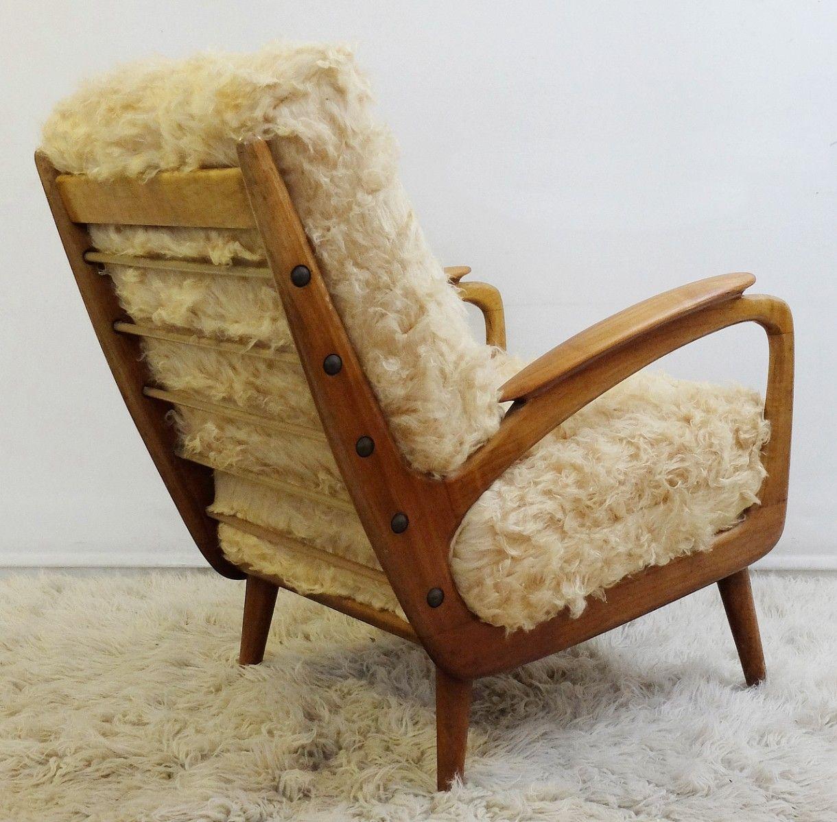 fauteuils mid century en fausse fourrure set de 2 en vente sur pamono. Black Bedroom Furniture Sets. Home Design Ideas