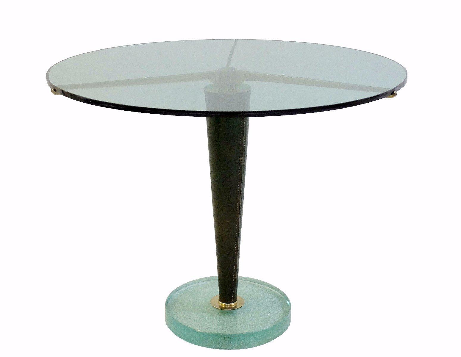 beistelltisch aus glas leder messing 1950er bei pamono kaufen. Black Bedroom Furniture Sets. Home Design Ideas