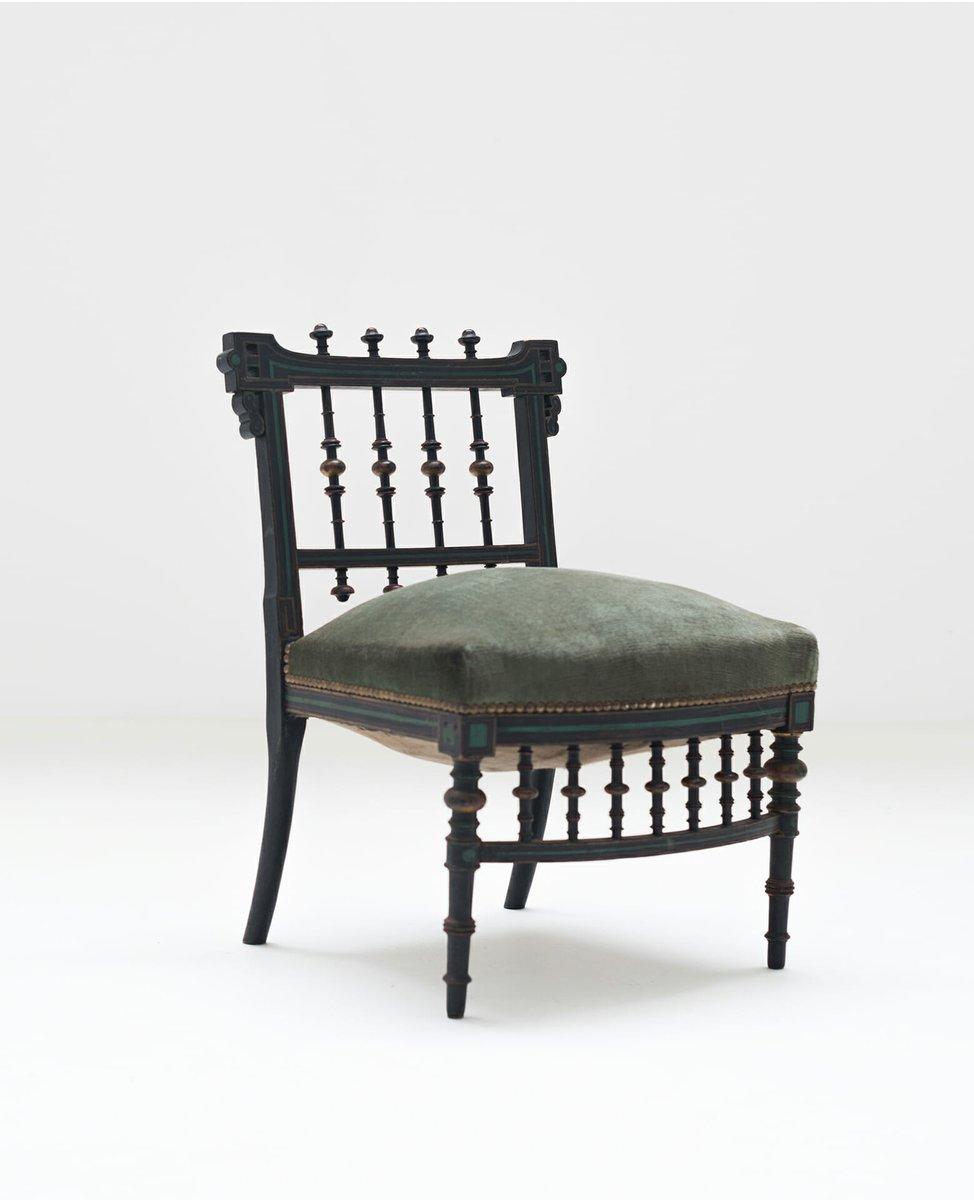 antiker stuhl aus holz mit gr nem bezug bei pamono kaufen. Black Bedroom Furniture Sets. Home Design Ideas