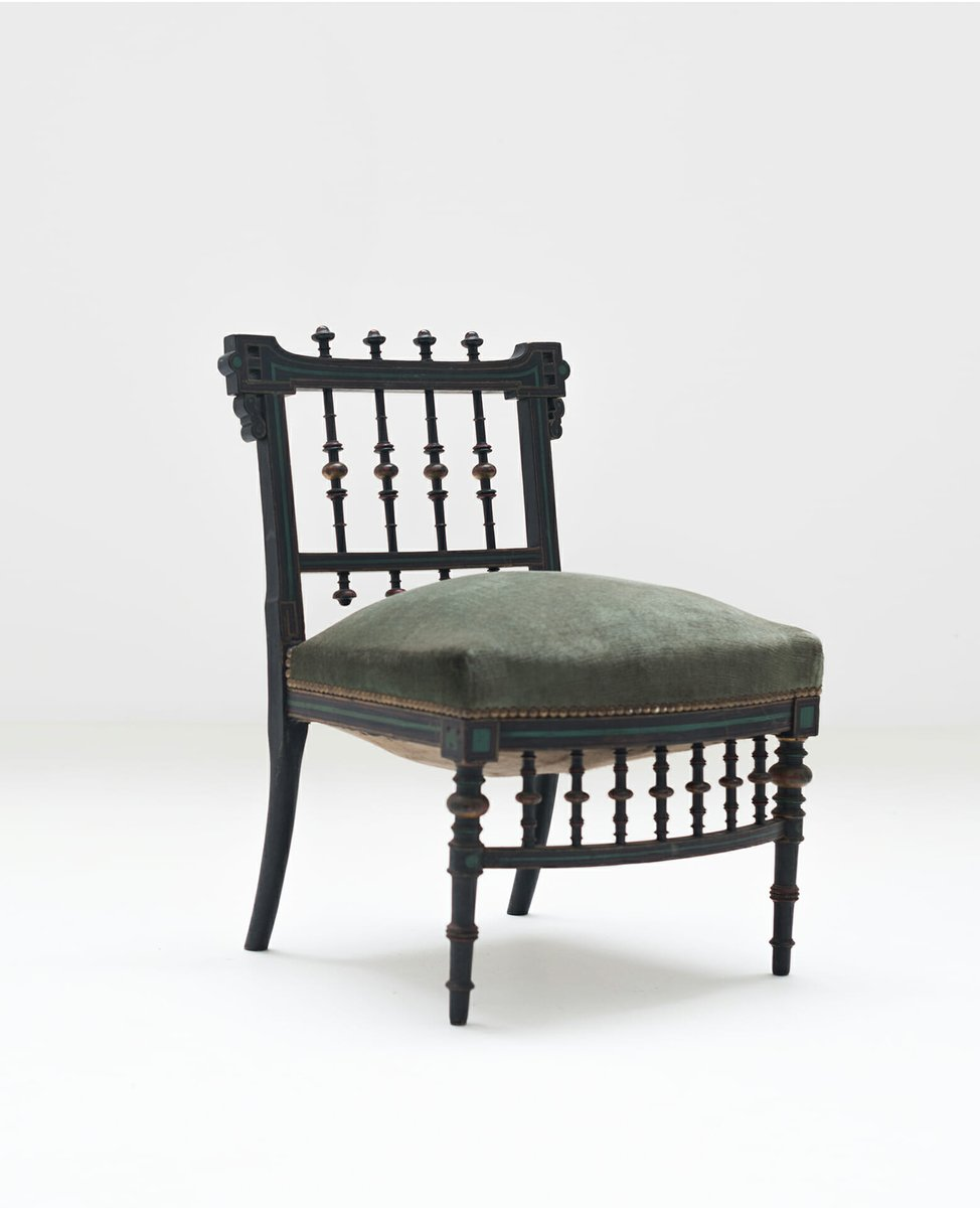 Antique Wooden Nursing Chair with Green Upholstery - Antique Wooden Nursing Chair With Green Upholstery For Sale At Pamono