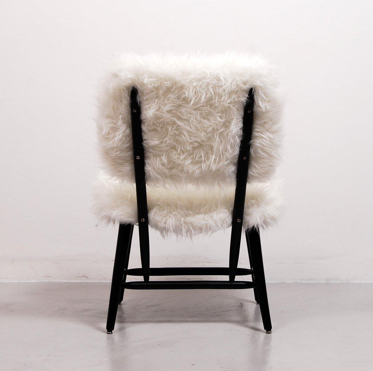 chaise cocktail en fausse fourrure 1950s en vente sur pamono. Black Bedroom Furniture Sets. Home Design Ideas
