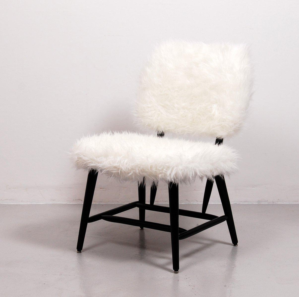 schwedischer stuhl aus kunstfell 1950er bei pamono kaufen. Black Bedroom Furniture Sets. Home Design Ideas