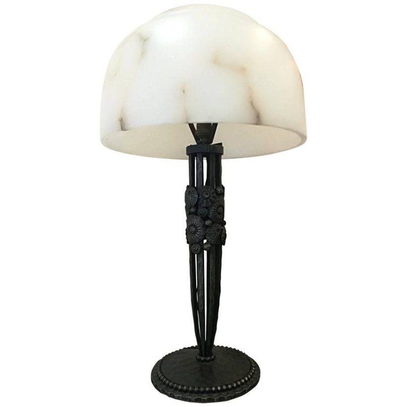 Art Deco Schmiedeeisen und Alabaster Tischlampe, 1930er