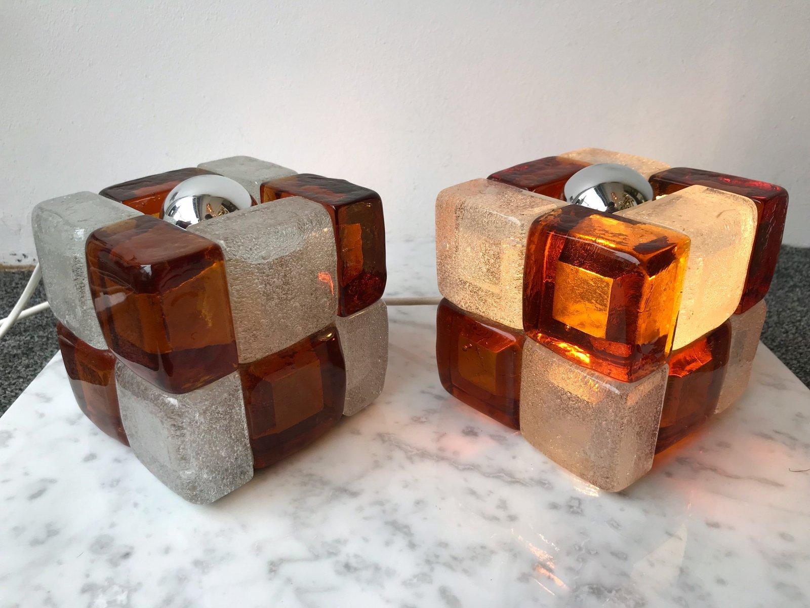 w rfelf rmige italienische lampen aus glas von poliarte 1970er 2er set bei pamono kaufen. Black Bedroom Furniture Sets. Home Design Ideas