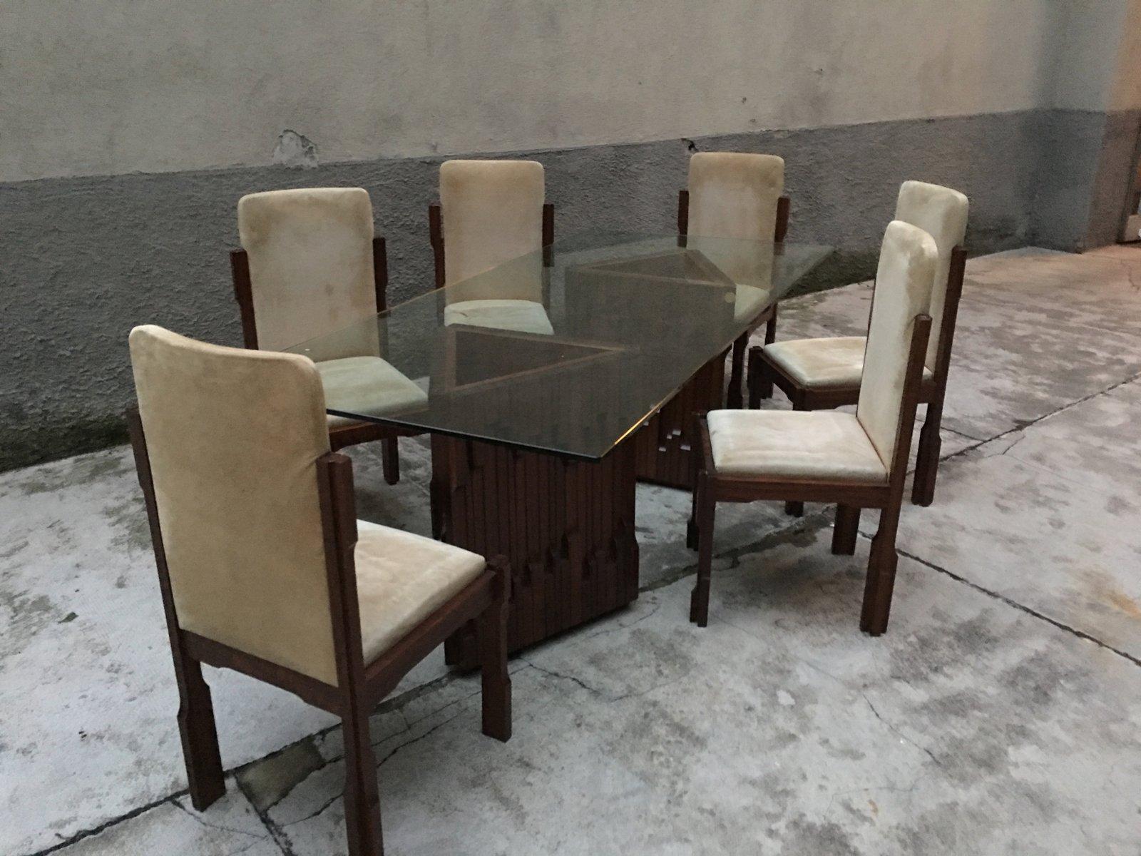 Italienisches vintage norman esszimmer set von luciano for Esszimmer italienisches design