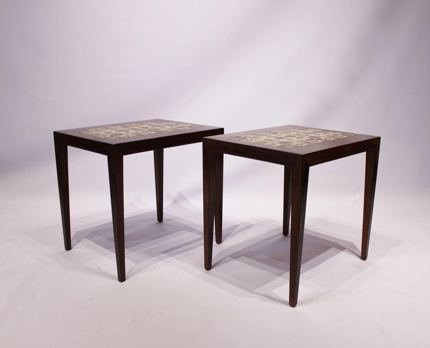 Tile Top Side Tables By Severin Hansen For Haslev Møbelsnedkeri 1960s Set Of 2