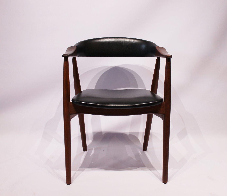 d nischer armlehnstuhl aus teak und schwarzem leder 1960er bei pamono kaufen. Black Bedroom Furniture Sets. Home Design Ideas
