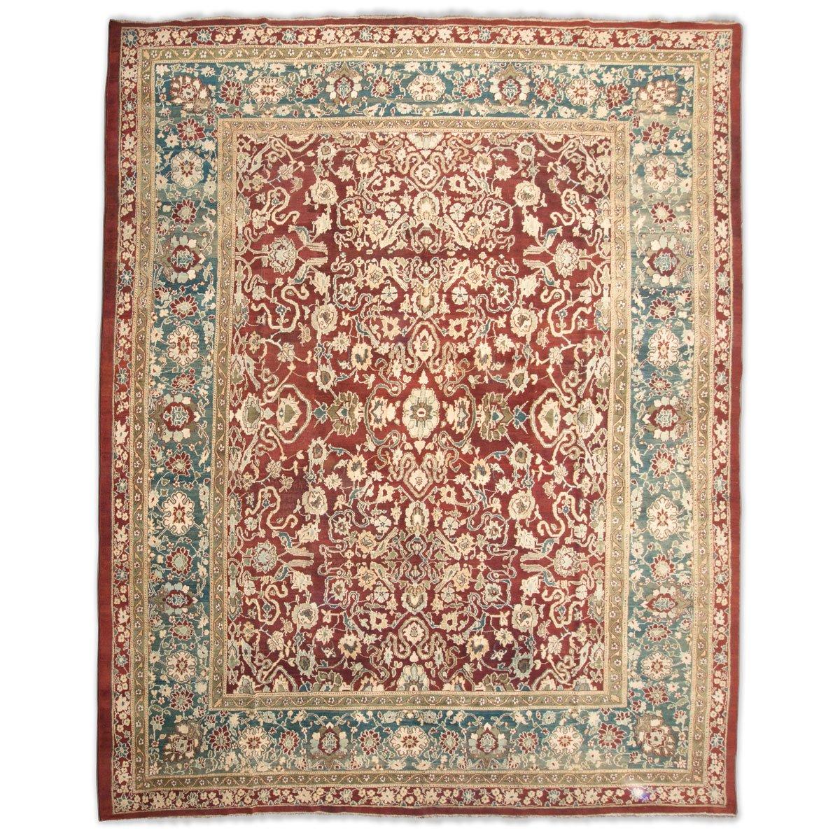 Agra Teppich in Rot, Grün und Beige, 19. Jh. bei Pamono kaufen