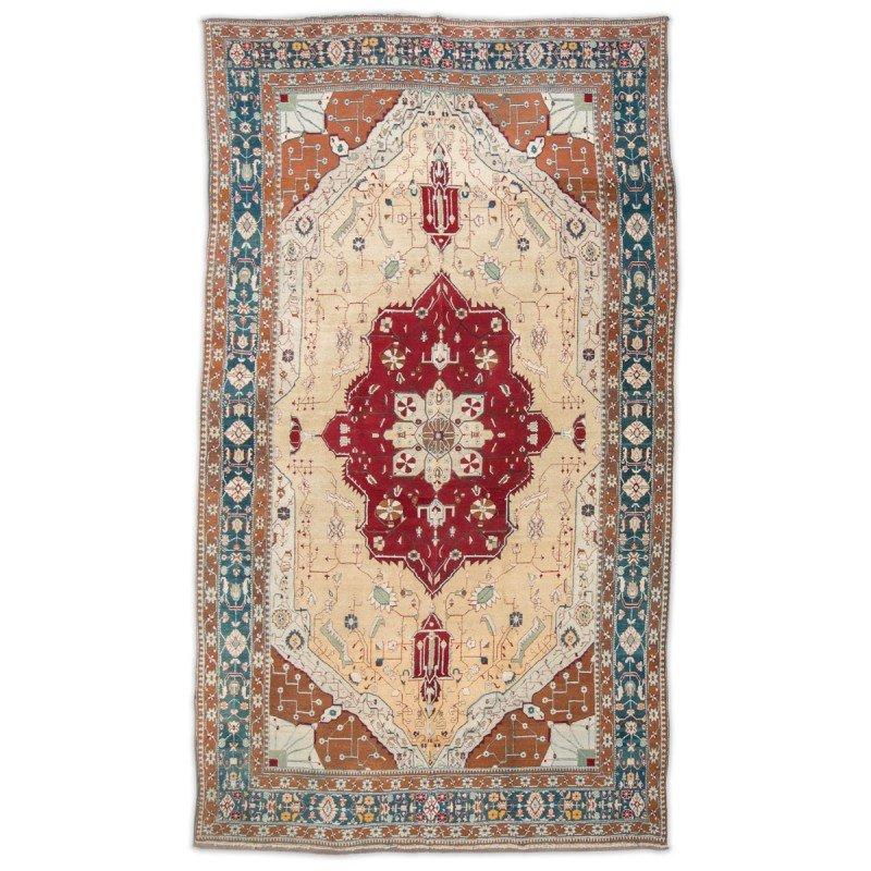Agra Teppich in Rot, Türkis und Beige, 19. Jh. bei Pamono kaufen