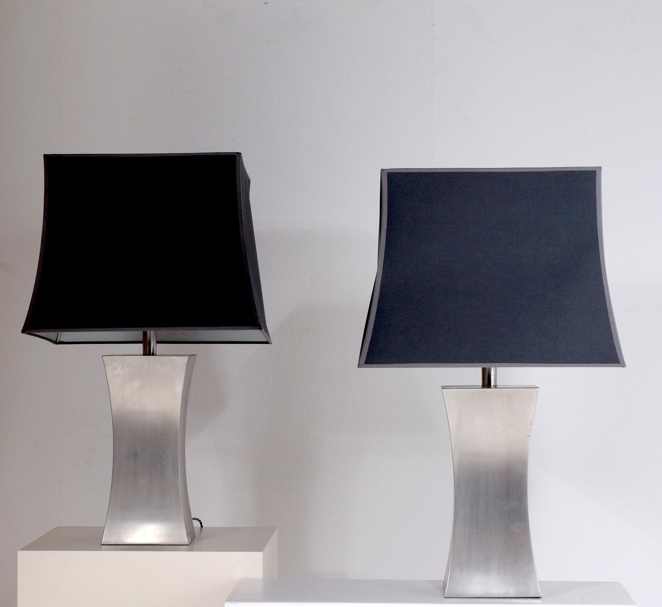 French Stainless Steel Table Lamps With Silk Shades By Francoise See, 1970s