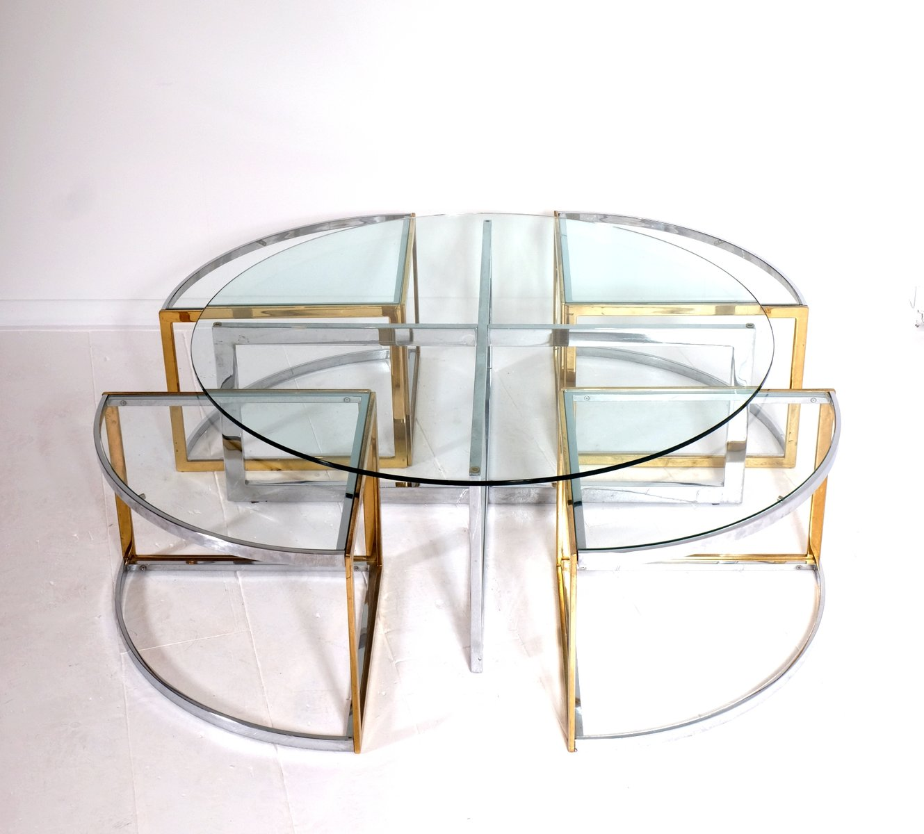 Vintage Round Coffee Table With Nesting Tables By Maison