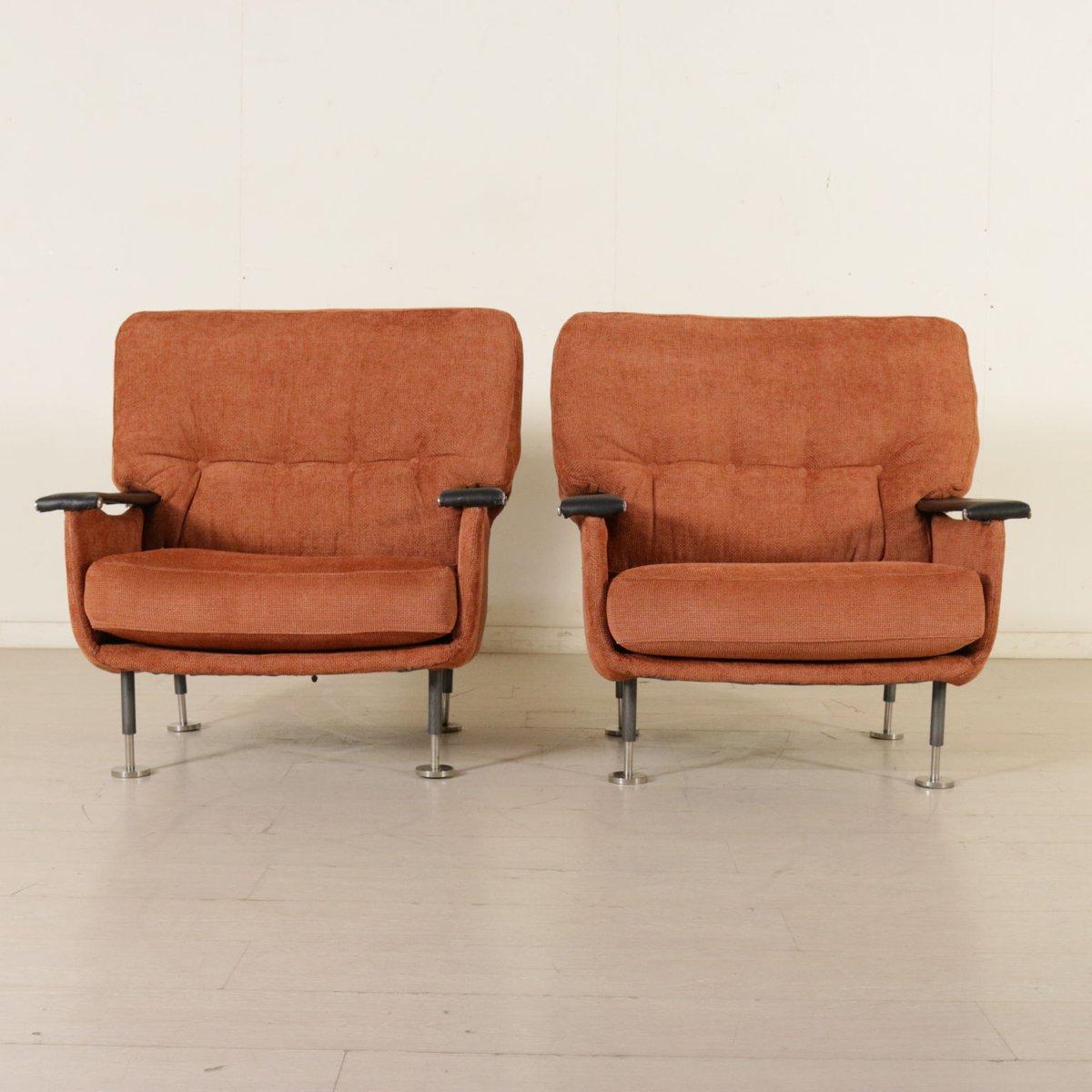 Italienische sessel mit fu schemel 1960er 2er set bei for Sessel italienisches design