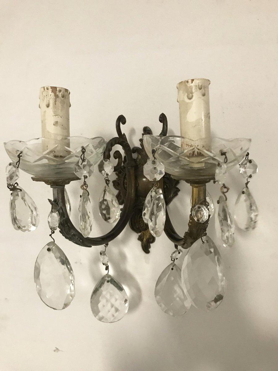 Italienische Vintage Wandlampen aus Kristallglas, 2er Set