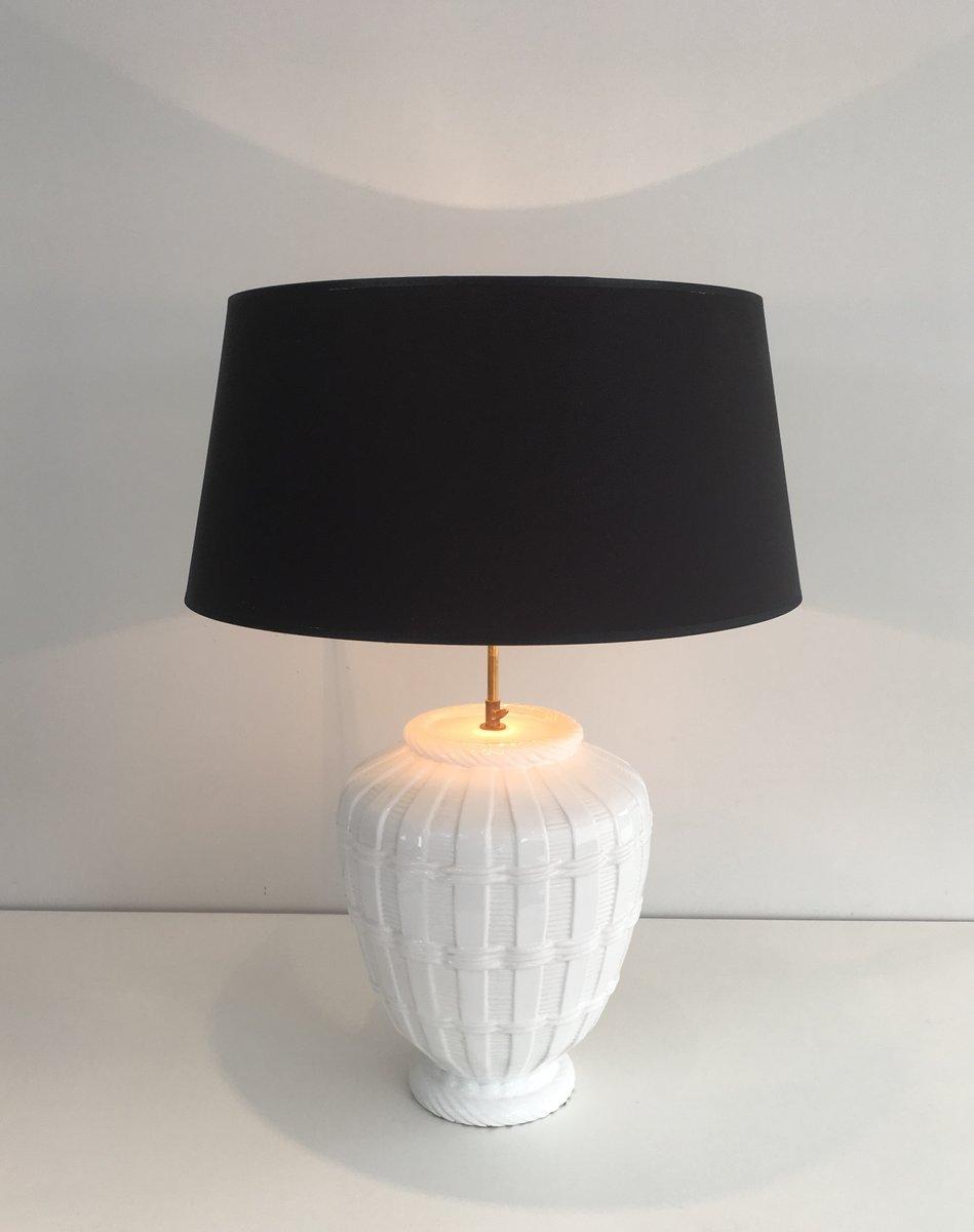 Weiße Vintage Keramik Tischlampe