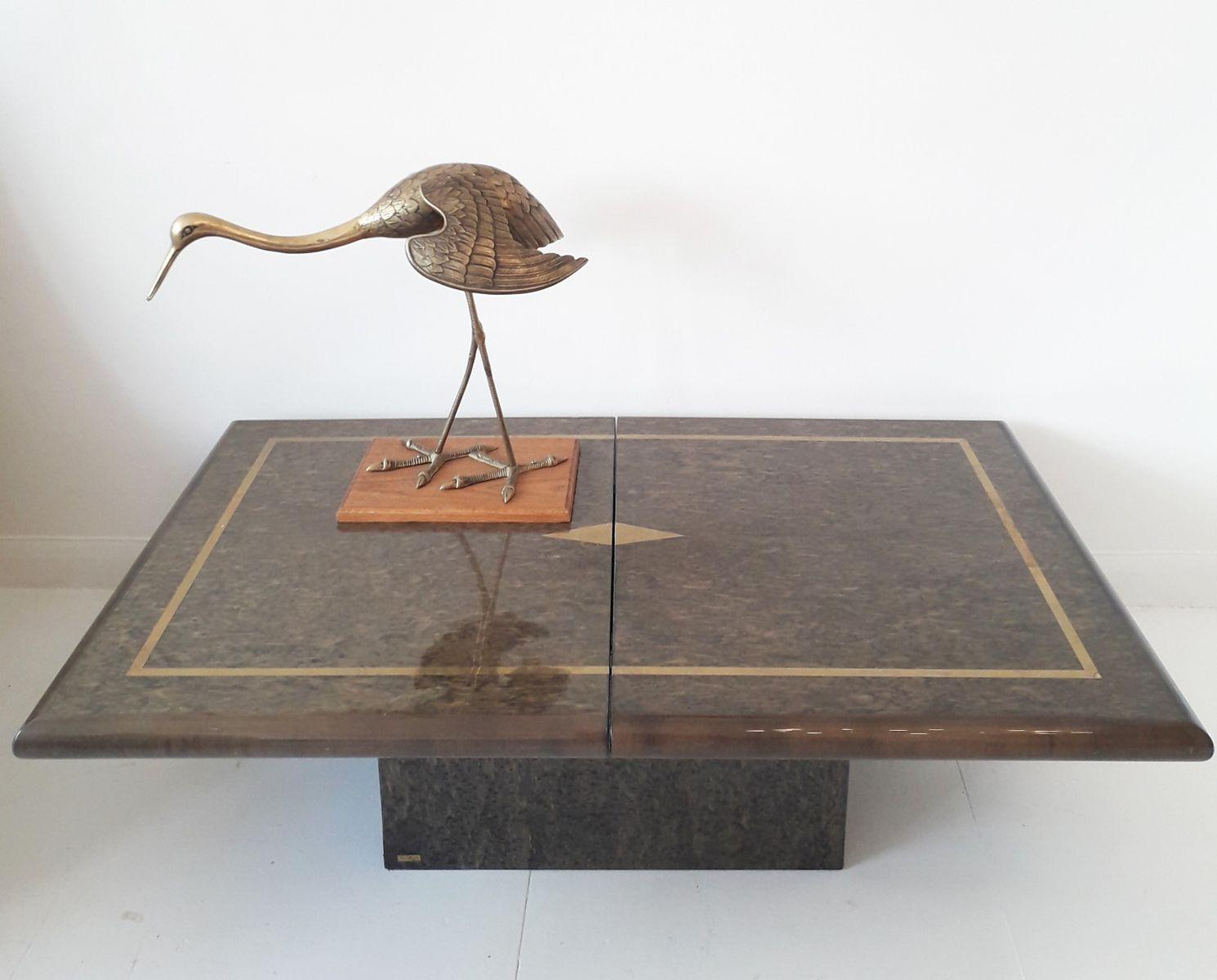 Lackierter Couchtisch aus Vogelaugen Ahorn & Messing von Eric Maville,...