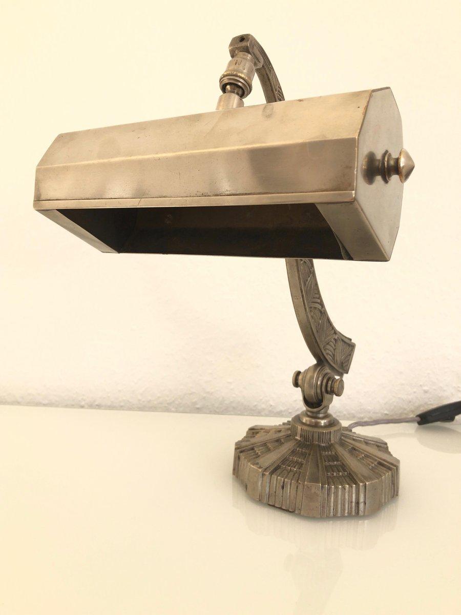 Französische Art Deco Bronze Schreibtischlampe, 1930er