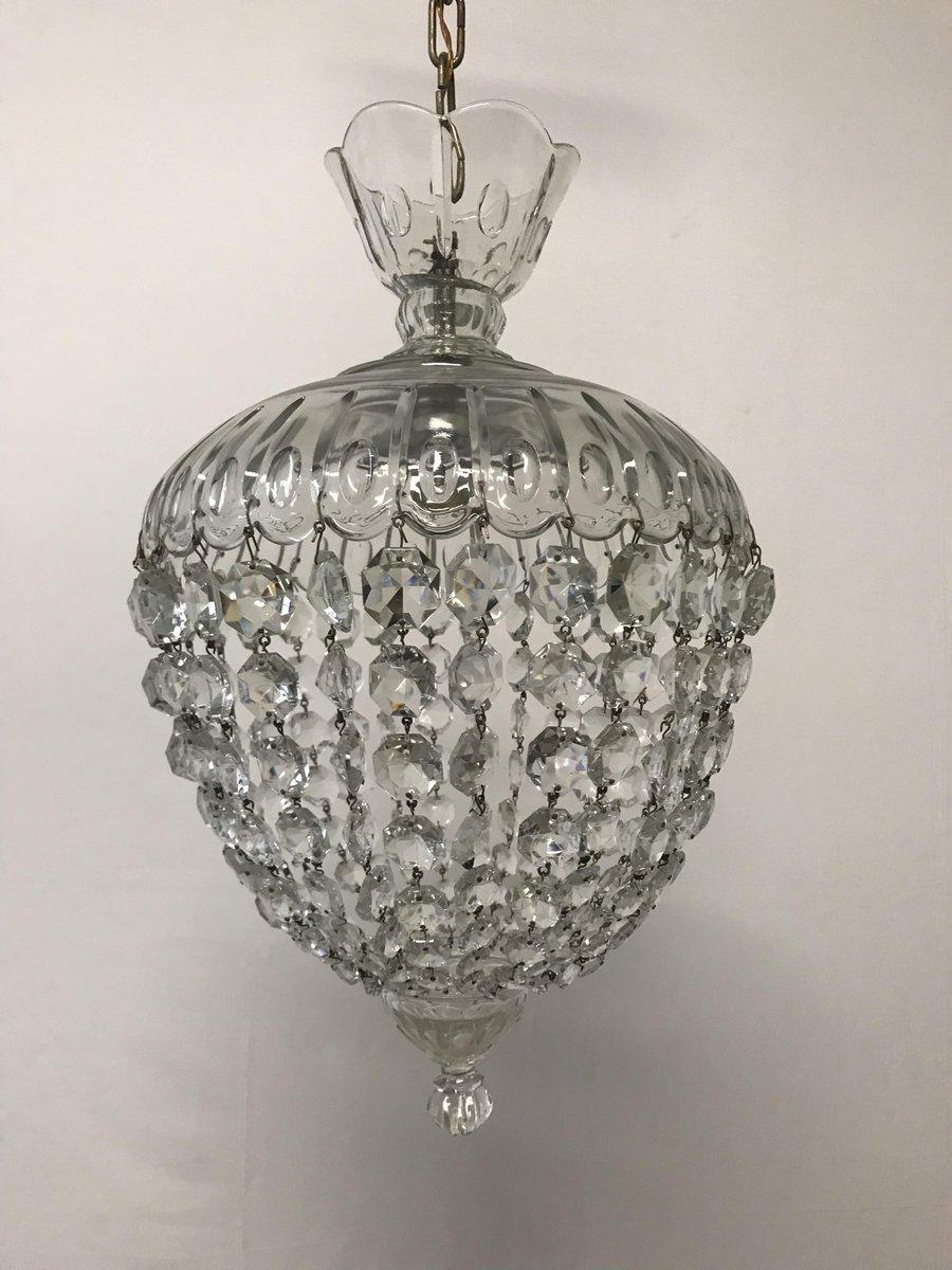 Italienische Vintage Murano Kristallglas Hängeleuchte