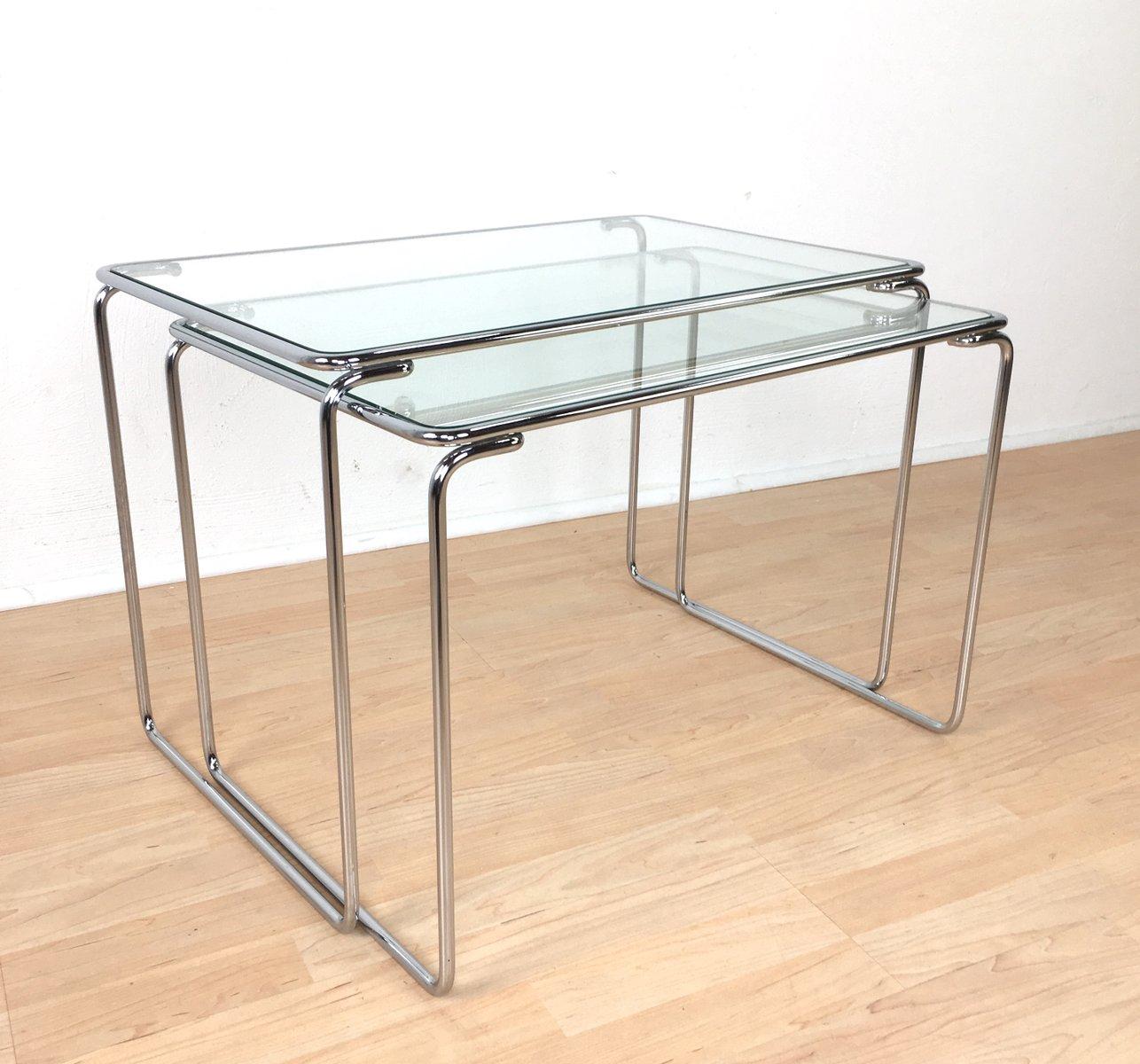 Tables gigognes avec plateau en verre 1960s en vente sur pamono for Tables gigognes verre