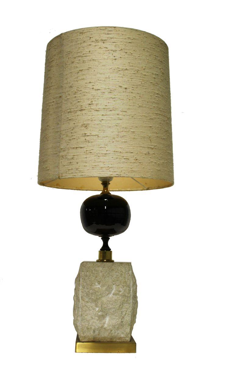 Vintage Messing Tischlampe von Maison Barbier, 1970er