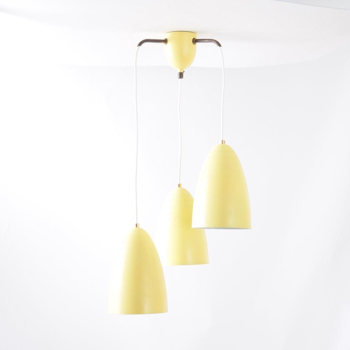 Niederländische gelbe Mid-Century Deckenlampe, 1950er