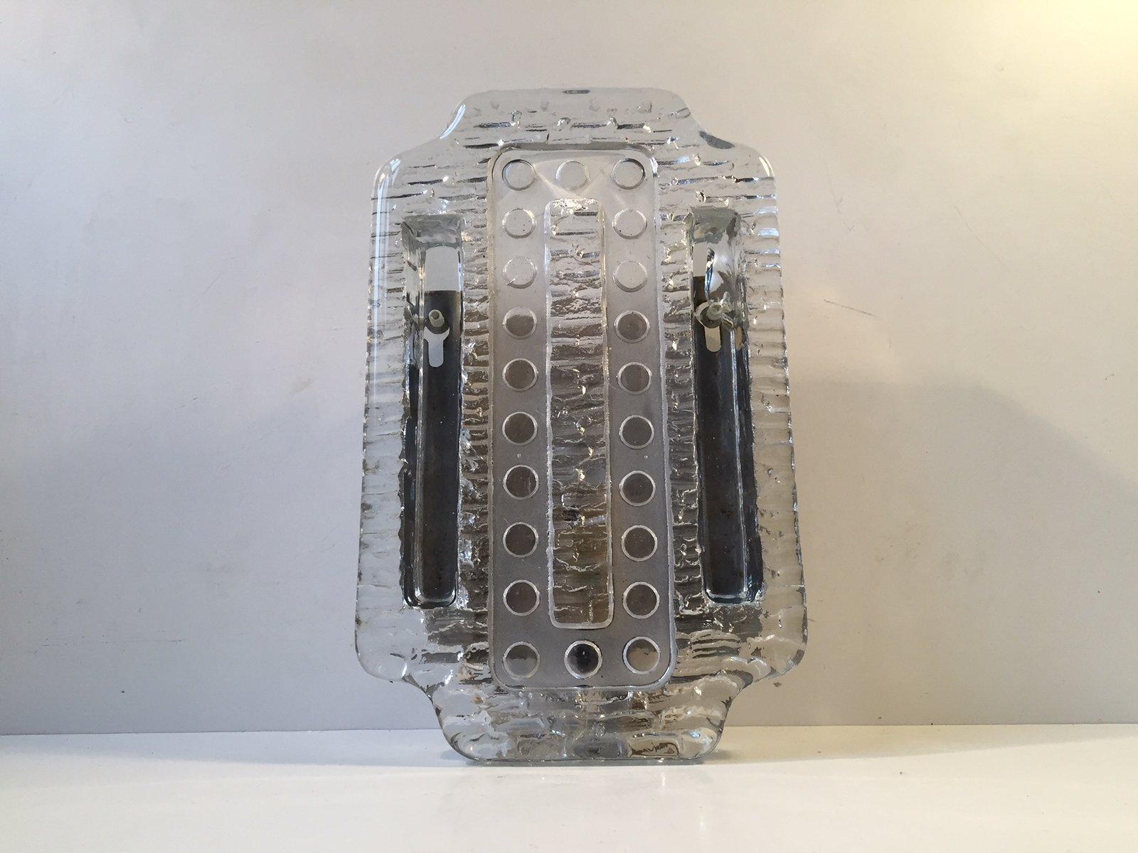 Wandleuchte aus dickem Glas von Vitrika, 1970er
