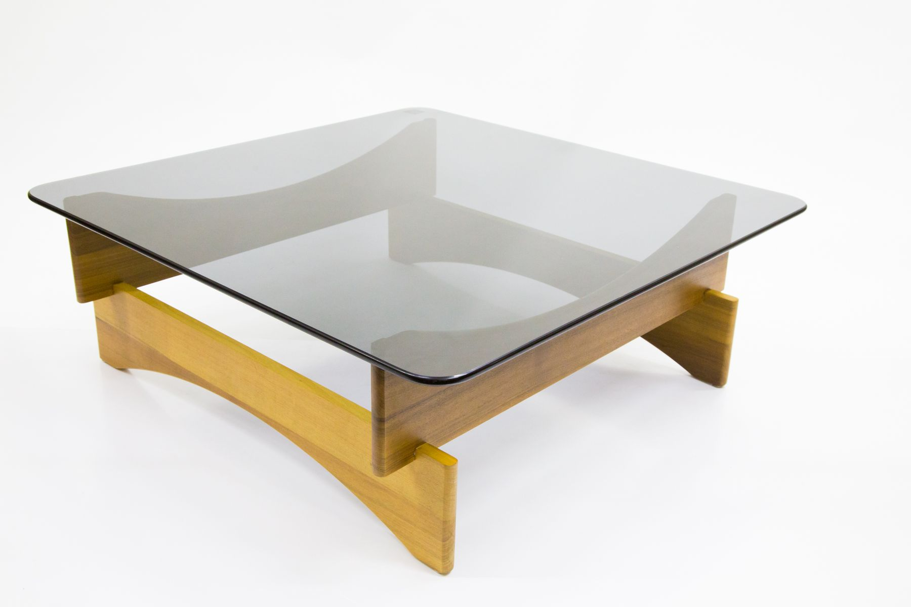 Afzelia Africana Wood Coffee Table With Smoked Gl Tabletop 1970s