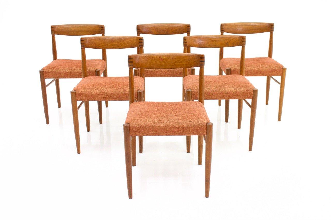 chaises de salle manger vintage en teck par h w klein pour bramin set de 6 en vente sur pamono. Black Bedroom Furniture Sets. Home Design Ideas