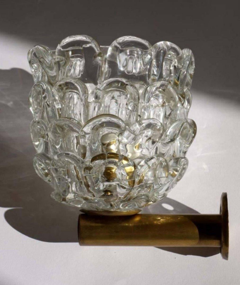 Vintage Glas Wandlampen von Ercole Barovier für Venini, 1930er, 2er Se...