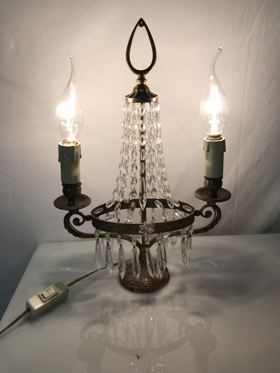 Vintage Italian Crystal Beaded Candelabra Table Lamp