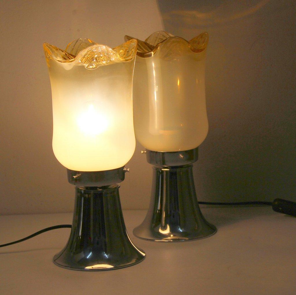 lampe de bureau en verre murano 1960s set de 2 en vente sur pamono. Black Bedroom Furniture Sets. Home Design Ideas