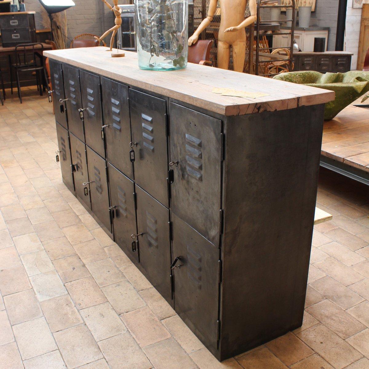 buffet industriel métal & bois, 1950s en vente sur pamono