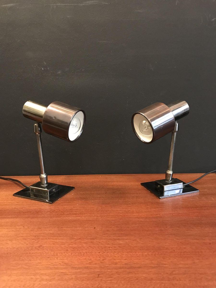 Metall Tischlampen, 1970er, 2er Set