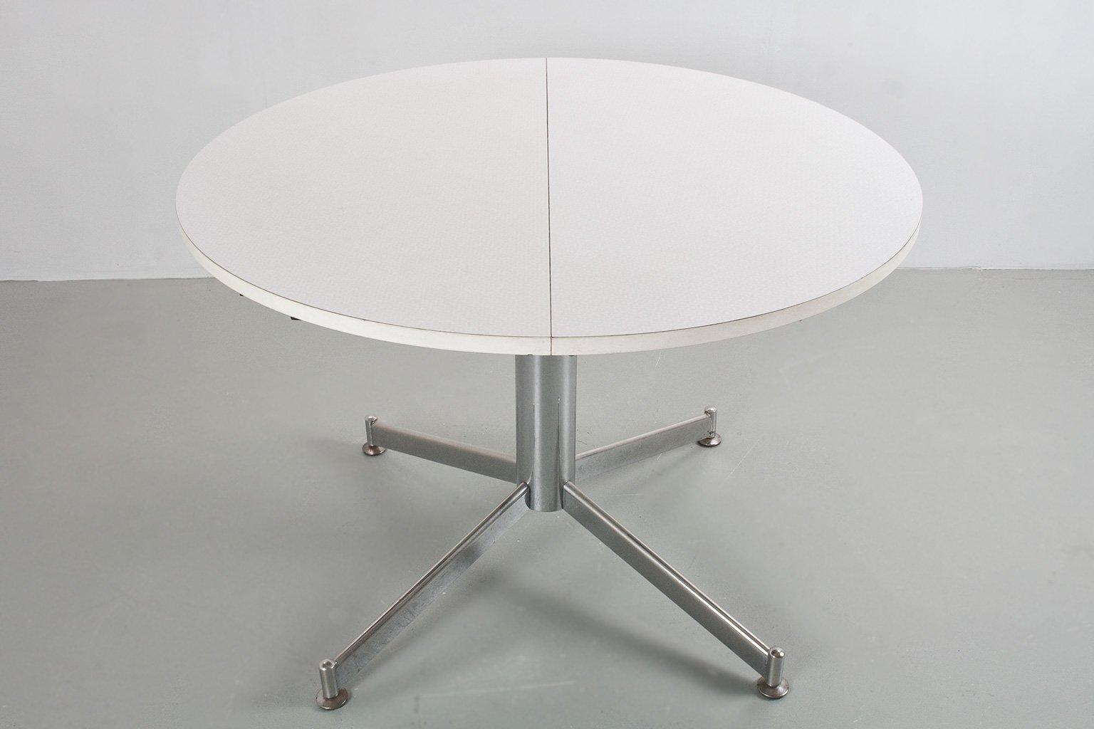 Tavolo da pranzo rotondo vintage allungabile in metallo e legno di formica in vendita su pamono - Tavolo pranzo rotondo allungabile ...