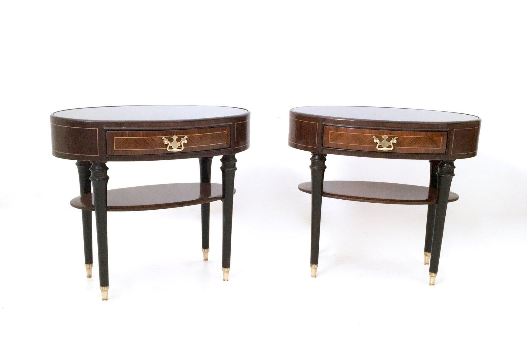 tables de chevet en bois noirci avec plateaux de verre italie 1950s set de 2 en vente sur pamono. Black Bedroom Furniture Sets. Home Design Ideas